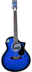 Givsun Pentagon Blue Acoustic Semi-Electric Guitar