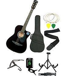 Jixing JXNG-BLK-SC1, Black Acoustic Guitar