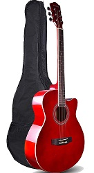 Kadence Frontier Series Red Acoustic Guitar
